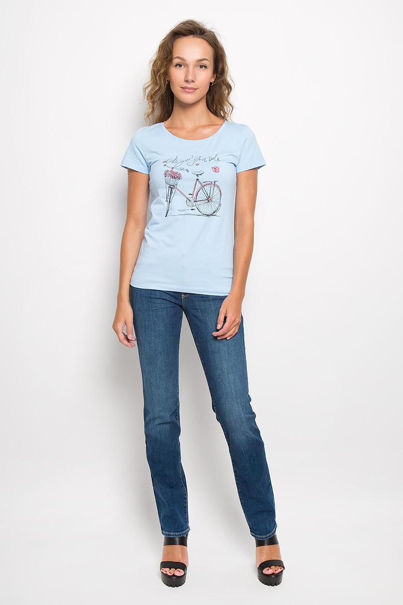 Футболка женская. 160272/160273/Bike160272_12380/BikeЖенская футболка F5 выполнена из эластичного хлопка. Материал очень мягкий и приятный на ощупь, не сковывает движения и позволяет коже дышать. Футболка с круглым вырезом горловины и короткими рукавами имеет полуприлегающий силуэт. Изделие оформлено принтом с изображением велосипеда и надписями. Такая модель будет дарить вам комфорт в течение всего дня и станет отличным дополнением к вашему гардеробу.
