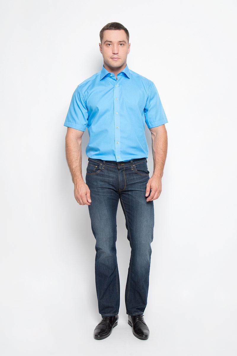 1143_60_C167_38-46Стильная мужская рубашка Eterna, выполненная из эластичного хлопка подчеркнет ваш уникальный стиль и поможет создать оригинальный образ. Такой материал великолепно пропускает воздух, обеспечивая необходимую вентиляцию, а также обладает высокой гигроскопичностью. Рубашка с короткими рукавами и отложным воротником застегивается на пуговицы спереди. Классическая однотонная рубашка - превосходный вариант для базового мужского гардероба и отличное решение на каждый день. Такая рубашка будет дарить вам комфорт в течение всего дня и послужит замечательным дополнением к вашему гардеробу.