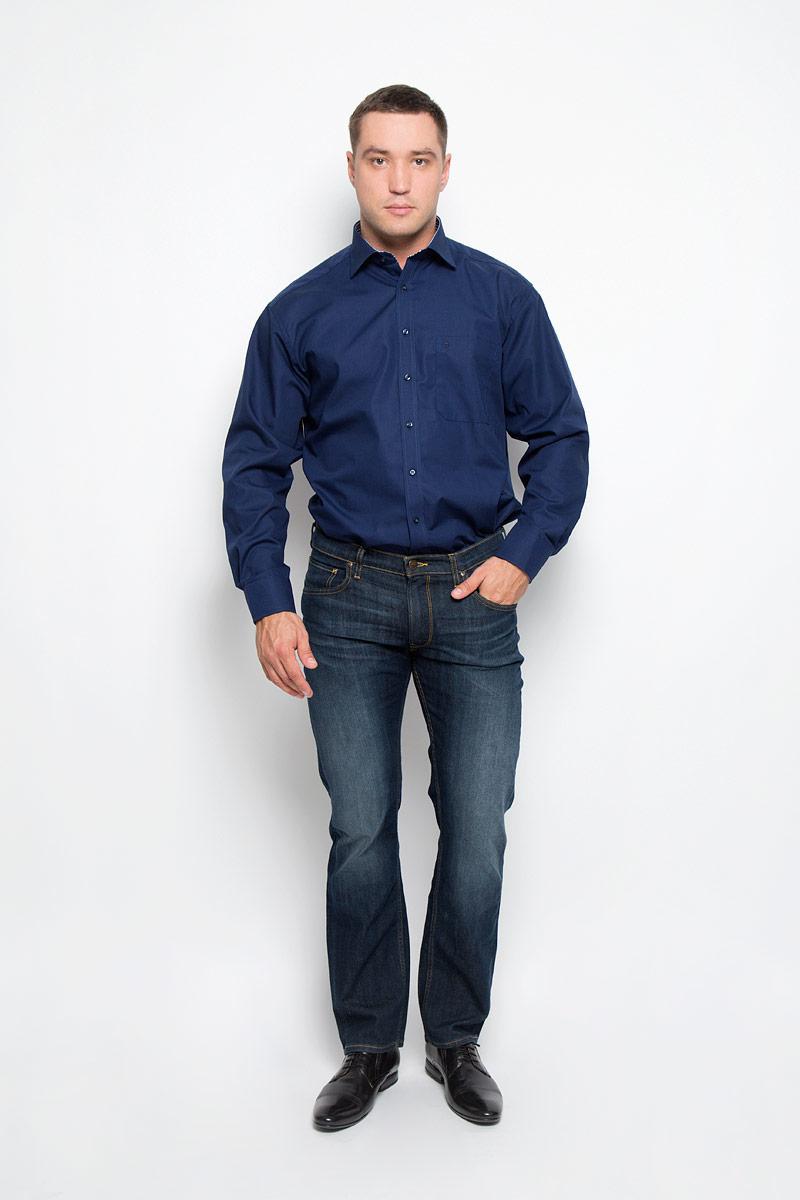 1128_19_E147_40-46Стильная мужская рубашка Eterna, выполненная из натурального хлопка подчеркнет ваш уникальный стиль и поможет создать оригинальный образ. Такой материал великолепно пропускает воздух, обеспечивая необходимую вентиляцию, а также обладает высокой гигроскопичностью. Рубашка с длинными рукавами и отложным воротником застегивается на пуговицы спереди. Манжеты рукавов также застегиваются на пуговицы. Изделие дополнено накладным нагрудным карманом. Классическая рубашка - превосходный вариант для базового мужского гардероба и отличное решение на каждый день. Такая рубашка будет дарить вам комфорт в течение всего дня и послужит замечательным дополнением к вашему гардеробу.