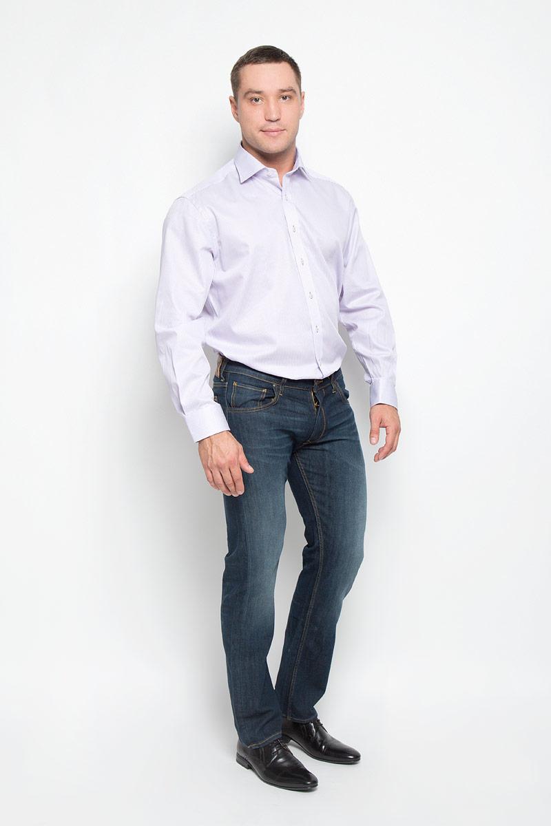 4610_91_X177_38-46Стильная мужская рубашка Eterna, выполненная из натурального хлопка подчеркнет ваш уникальный стиль и поможет создать оригинальный образ. Такой материал великолепно пропускает воздух, обеспечивая необходимую вентиляцию, а также обладает высокой гигроскопичностью. Рубашка с длинными рукавами и отложным воротником застегивается на пуговицы спереди. Манжеты рукавов также застегиваются на пуговицы. Изделие оформлено принтом в узкую полоску. Классическая рубашка - превосходный вариант для базового мужского гардероба и отличное решение на каждый день. Такая рубашка будет дарить вам комфорт в течение всего дня и послужит замечательным дополнением к вашему гардеробу.