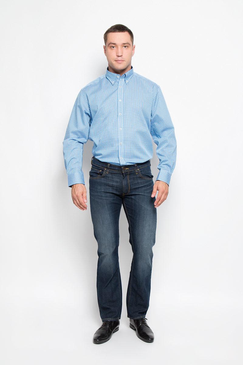 4356_18_X145_40-46Стильная мужская рубашка Eterna, выполненная из натурального хлопка подчеркнет ваш уникальный стиль и поможет создать оригинальный образ. Такой материал великолепно пропускает воздух, обеспечивая необходимую вентиляцию, а также обладает высокой гигроскопичностью. Рубашка с длинными рукавами и отложным воротником застегивается на пуговицы спереди. Манжеты рукавов также застегиваются на пуговицы. Изделие украшено принтом в мелкую клетку. Классическая рубашка - превосходный вариант для базового мужского гардероба и отличное решение на каждый день. Такая рубашка будет дарить вам комфорт в течение всего дня и послужит замечательным дополнением к вашему гардеробу.