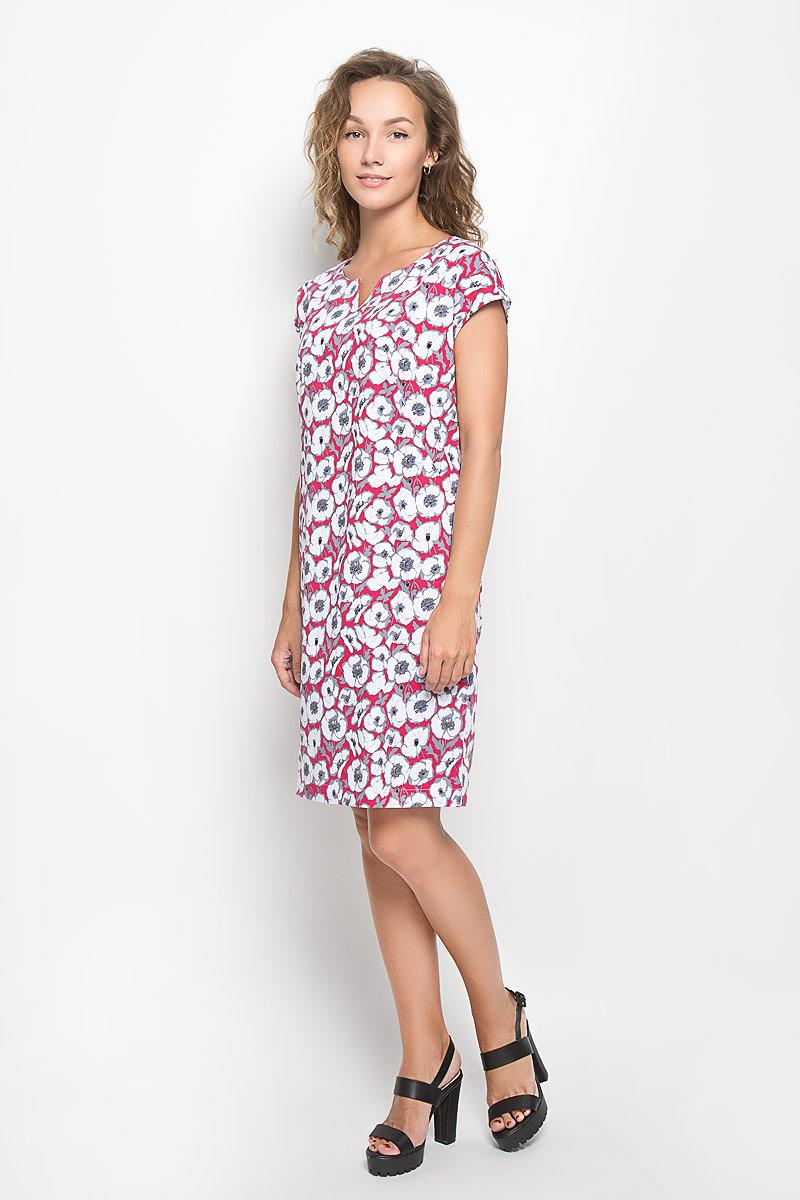 Платье160221_13840Элегантное платье F5 выполнено из высококачественного комбинированного материала. Такое платье обеспечит вам комфорт и удобство при носке и непременно вызовет восхищение у окружающих. Модель средней длины с короткими цельнокроеными рукавами и V-образным вырезом горловины выгодно подчеркнет все достоинства вашей фигуры. Изделие оформлено оригинальным цветочным принтом. Изысканное платье-миди создаст обворожительный и неповторимый образ. Это модное и комфортное платье станет превосходным дополнением к вашему гардеробу, оно подарит вам удобство и поможет подчеркнуть ваш вкус и неповторимый стиль.