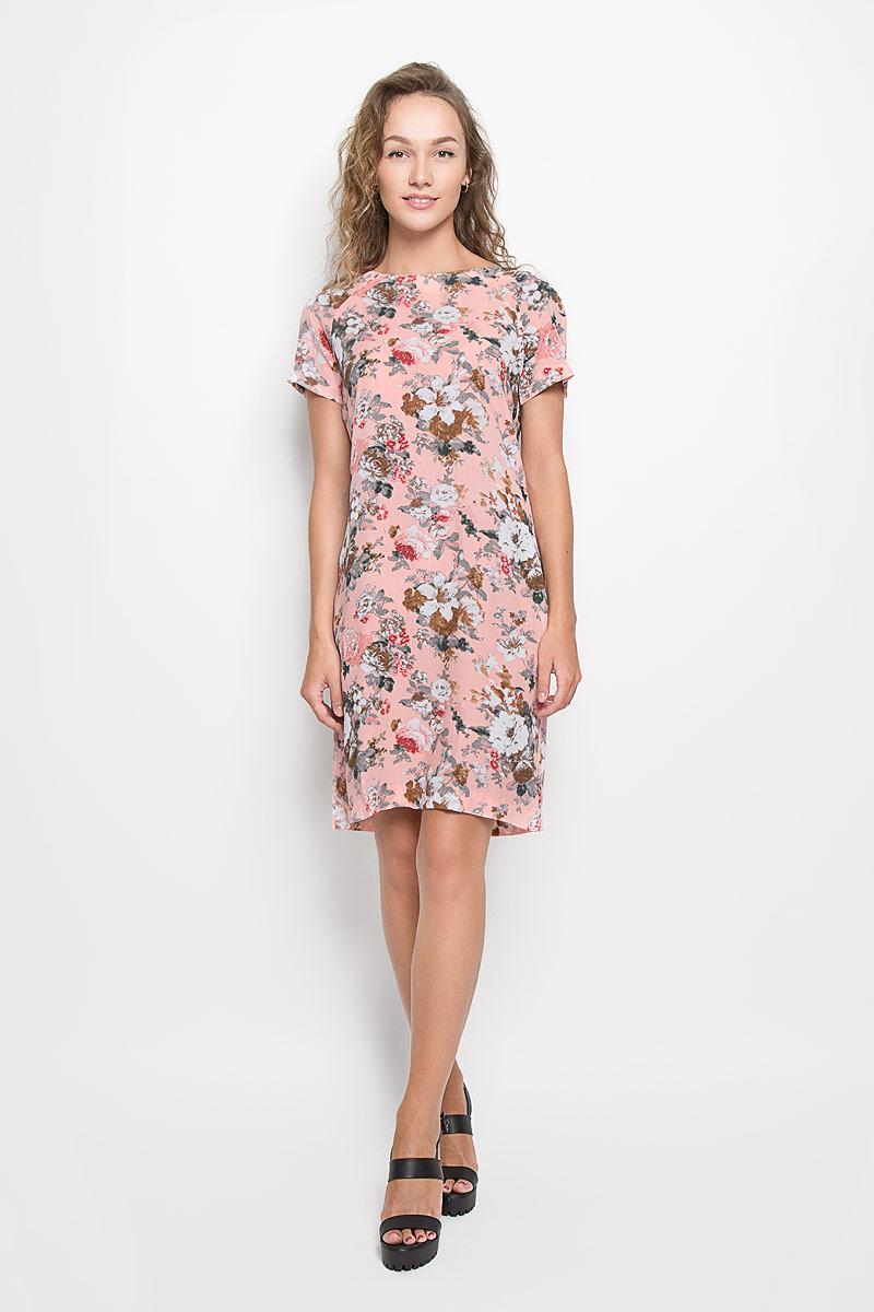 160258_13838Легкое платье F5 изготовлено из мягкой вискозы. Материал изделия тактильно приятный, хорошо пропускает воздух. Платье с круглым вырезом горловины и короткими рукавами-реглан оформлено цветочным принтом. Модель подарит вам комфорт в течение всего дня и станет отличным дополнением к вашему гардеробу!