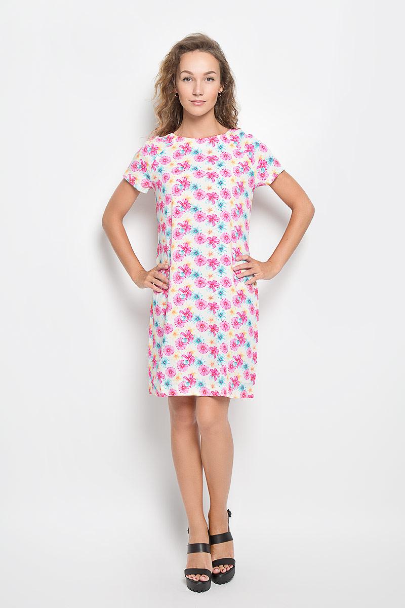 Платье160267_13838Элегантное платье F5 выполнено из высококачественной вискозы. Такое платье обеспечит вам комфорт и удобство при носке и непременно вызовет восхищение у окружающих. Модель средней длины с короткими рукавами-реглан и круглым вырезом горловины выгодно подчеркнет все достоинства вашей фигуры. Изделие оформлено оригинальным цветочным принтом. Изысканное платье-миди создаст обворожительный и неповторимый образ. Это модное и комфортное платье станет превосходным дополнением к вашему гардеробу, оно подарит вам удобство и поможет подчеркнуть ваш вкус и неповторимый стиль.
