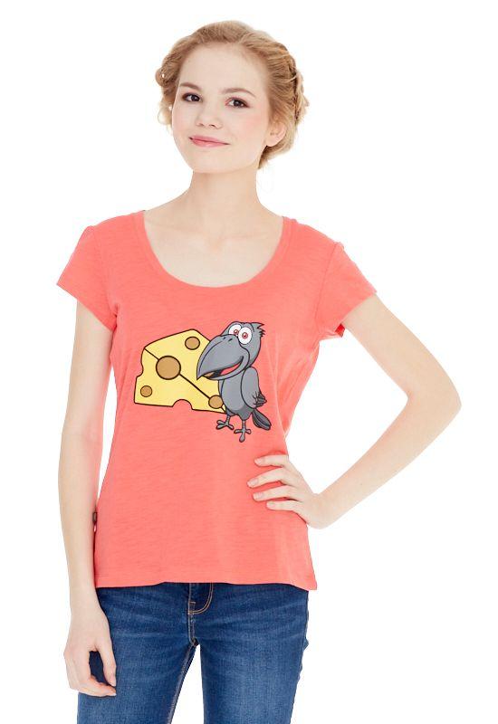 1310716487_54Женская футболка выполнена из хлопка и оформлена ярким принтом. Модель со стандартным коротким рукавом и круглым вырезом горловины.