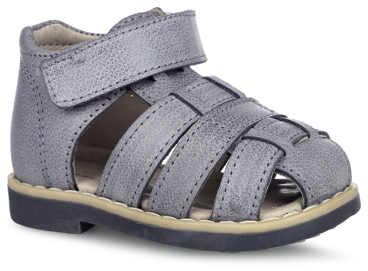 Сандалии для мальчика. 10598-1010598-10Стильные сандалии Зебра понравятся вашему мальчику с первого взгляда! Модель полностью выполнена из натуральной кожи и оформлена в греческом стиле. Полужесткие закрытые задник и передняя часть обеспечивают оптимальную посадку обуви на ноге, не давая ей смещаться в разные стороны. Сандалии фиксируются на ноге с помощью ремешка с застежкой-липучкой. Стелька из натуральной кожи дополнена супинатором с перфорацией, который обеспечивает правильное положение ноги ребенка при ходьбе, предотвращает плоскостопие. На подошве, изготовленной из ТЭП-материала, размещены амортизаторы, которые уменьшают травматизм суставов при ходьбе и беге. Специальная ортопедическая подошва обеспечивает достаточное, но не чрезмерное сгибание. Ортопедический каблук Томаса (Thomas Heel) укрепляет подошву под средней частью стопы и препятствует ее заваливанию внутрь. Модные и практичные сандалии - незаменимая вещь в гардеробе вашего ребенка.