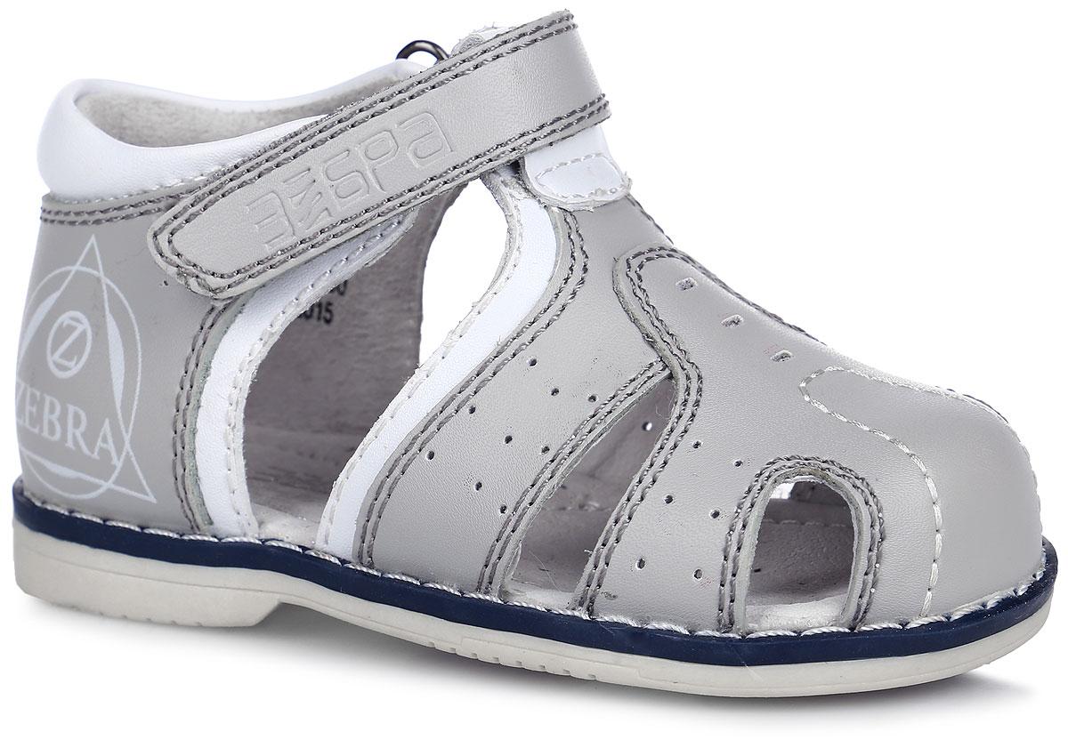 Сандалии для мальчика. 10575-1010575-10Стильные сандалии Зебра понравятся вашему мальчику с первого взгляда! Модель полностью выполнена из натуральной кожи и оформлена декоративными нашивками, изображением с логотипом фирмы и прострочками. Полужесткие закрытые задник и передняя часть обеспечивают оптимальную посадку обуви на ноге, не давая ей смещаться в разные стороны. Сандалии фиксируются на ноге с помощью ремешка с застежкой-липучкой, оформленной вырезной надписью с названием фирмы. Стелька из натуральной кожи дополнена супинатором с перфорацией, который обеспечивает правильное положение ноги ребенка при ходьбе и предотвращает плоскостопие. На подошве, изготовленной из ТПР-материала, размещены амортизаторы, которые уменьшают травматизм суставов при ходьбе и беге. Специальная ортопедическая подошва обеспечивает достаточное, но не чрезмерное сгибание. Ортопедический каблук Томаса (Thomas Heel) укрепляет подошву под средней частью стопы и препятствует ее заваливанию внутрь. Модные и практичные сандалии - незаменимая...