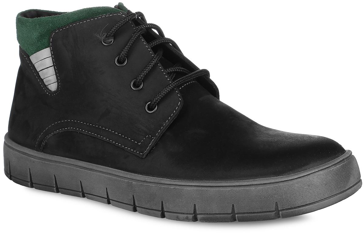 Ботинки для мальчика. 11392-111392-1Стильные зимние ботинки Зебра заинтересуют вашего юного модника с первого взгляда! Модель полностью выполнена из натуральной кожи и оформлена небольшими декоративными нашивками. Ботинки фиксируются на ноге с помощью удобной застежки-молнии и шнурков. Мягкий манжет, который снаружи выполнен из замши, создает комфорт при ходьбе и предотвращает натирание ноги. Внутренняя поверхность и стелька выполнены из натурального меха, благодаря которому тепло сохраняется лучше. Подошва изготовлена из ТЭП-материала, а её рифленая поверхность обеспечит отличное сцепление с любой поверхностью. Такие модные и практичные ботинки займут достойное место в гардеробе вашего мальчика.