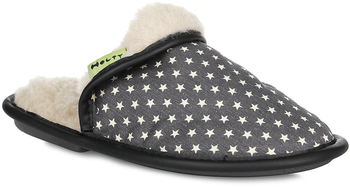 Тапки женские Звезды. 030322-1200/эп030322-1200/эпЖенские тапки Звезды от Holty не дадут вашим ногам замерзнуть. Верх модели выполнен из текстиля с принтом в виде звезд и дополнен окантовкой из искусственной кожи. Внутренняя поверхность и стелька из натуральной овечьей шерсти обеспечат комфорт. Содержащий в натуральной шерсти животный воск, взаимодействуя с кожей человека, благотворно влияет на мышцы и суставы. Уникальным свойством шерсти является способность поглощать влагу, свободно ее рассеивать, оставляя при этом ноги сухими. Тапки обеспечат прогрев ног сухим теплом, защитят от воздействия холода и сквозняков, и снимут усталость ног. Рельефная подошва, выполненная из материала ЭВА, обеспечивает сцепление с любой поверхностью. Материал ЭВА не пропускает и не впитывает воду. Тапки идеально подойдут для ношения в помещениях с любыми типами полов. Легкие и мягкие тапки подарят чувство уюта и комфорта.