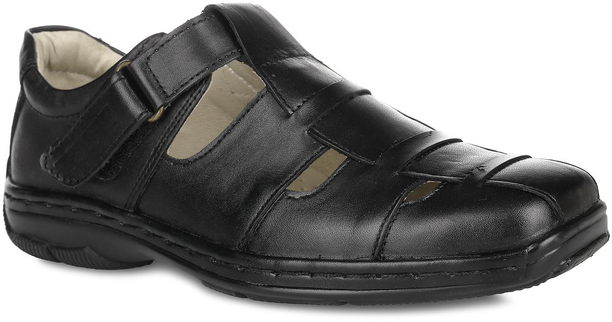 Туфли для мальчика. 11425-111425-1Стильные и удобные туфли от Зебра не оставят равнодушным вашего мальчика! Модель изготовлена из натуральной кожи. Отверстия в передней части модели обеспечивают естественную вентиляцию. Ремешок с застежкой-липучкой надежно зафиксирует модель на ноге. Подкладка из натуральной кожи не натирает. Стелька из материала ЭВА с поверхностью из натуральной кожи дополнена супинатором с перфорацией, который обеспечивает правильное положение стопы ребенка при ходьбе и предотвращает плоскостопие. Подошва не оставляет следов на поверхности пола, поэтому модель можно использовать в качестве сменной обуви. Подошва с рифлением обеспечивает отличное сцепление с любой поверхностью. Стильные туфли - незаменимая вещь в гардеробе каждого мальчика!