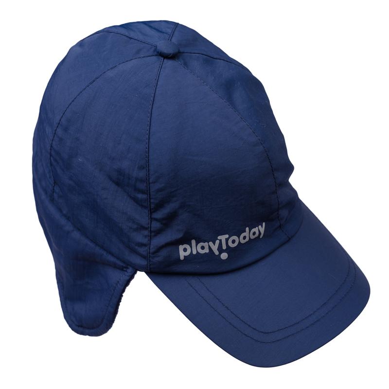 360013Стильная утепленная кепка темно-синего цвета. Внутри уютная флисовая подкладка. Козырек надежно защитит от снега, удлиненные боковые части закрывают уши.