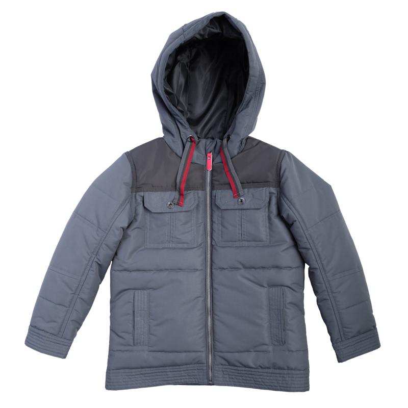 Куртка для мальчиков. 361001361001Стильная куртка графитового цвета. Застегивается на молнию с защитой подбородка, есть 4 функциональных кармана. Капюшон утягивается шнурком.