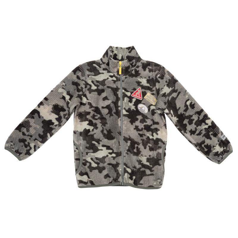 Куртка для мальчиков. 361005361005Стильная теплая толстовка в стиле милитари. Застегивается на молнию, высокий воротник защитит от ветра. Рукава и низ обработаны эластичным трикотажным кантом. Украшена шевронами на полочке.