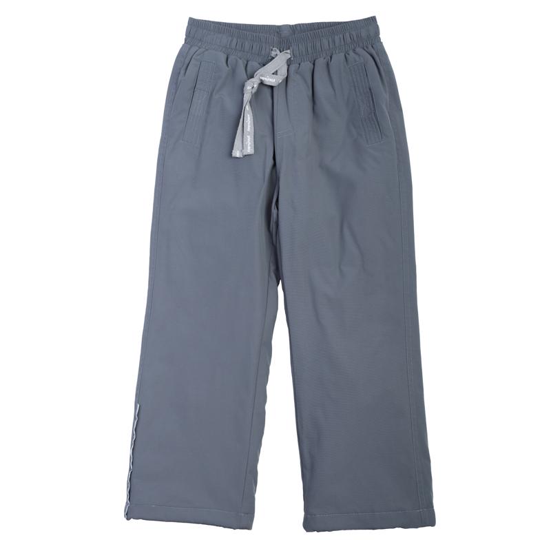 361007Стильные утепленные брюки цвета темный графит. Пояс на резинке, дополнительно регулируется тесьмой. Есть два кармана на липучках. Внутри уютная флисовая подкладка. Низ штанишек утягивается стопперами.