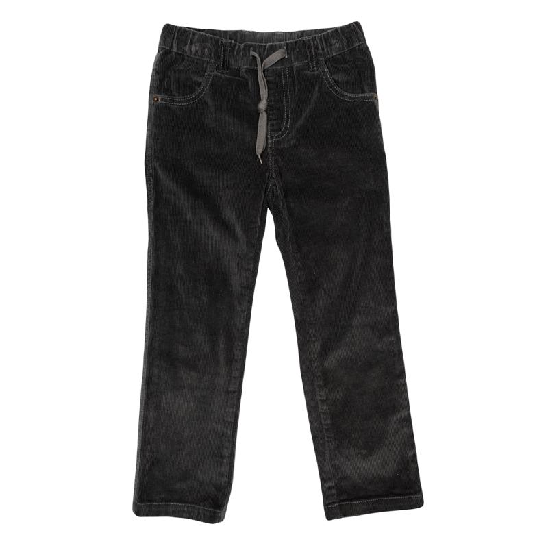 Брюки для мальчиков. 361012361012Стильные вельветовые брюки цвета темный графит. Пояс на резинке, дополнительно регулируется шнурком. Есть 4 функциональных кармана.