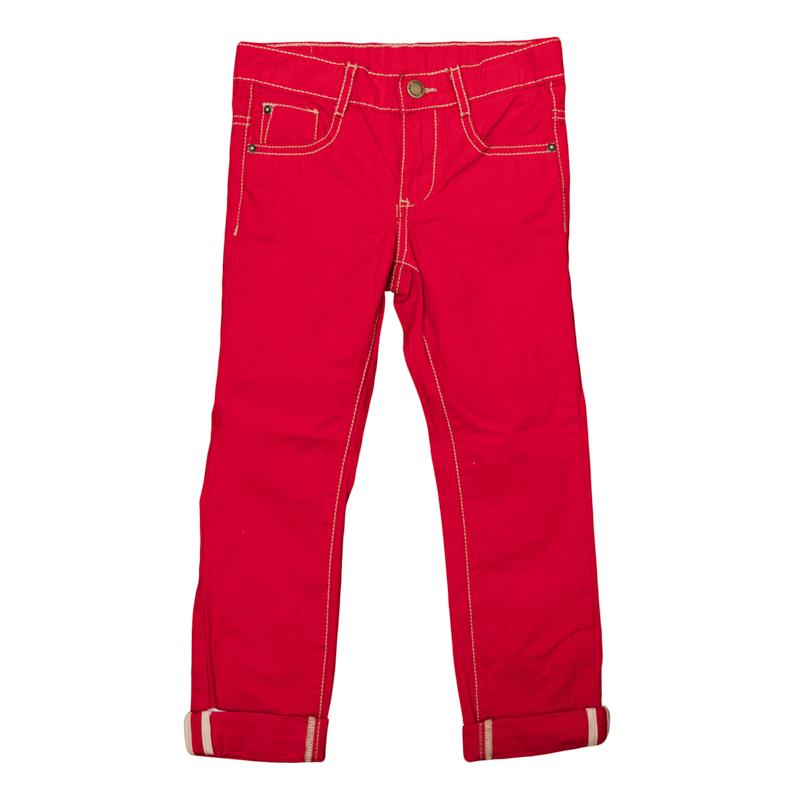 Брюки361013Ярко-красные твиловые брюки, классическая пятикарманка. Застегиваются на молнию и кнопку, есть шлевки для ремня. Контрастная бежевая стежка.