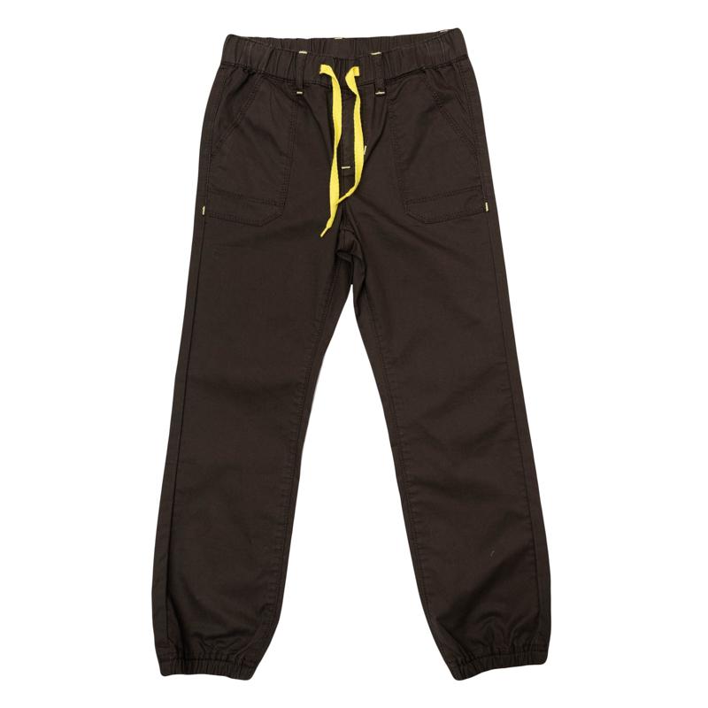 Брюки для мальчиков. 361014361014Стильные твиловые брюки шоколадного цвета. Пояс на резинке, дополнительно регулируется яркой тесьмой. Есть шлевки для ремня и 4 функциональных кармана. Низ штанишек на резинке.