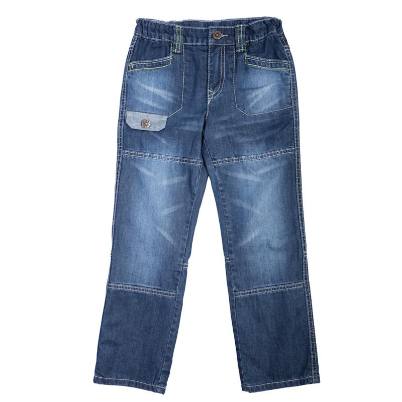 Брюки для мальчиков. 361015361015Стильные джинсы с модными потертостями. Внутри мягкая трикотажная подкладка цвета серый меланж. Есть 4 функциональных кармашка. Отделка карманов выполнена из изнаночной стороны джинсового материала.