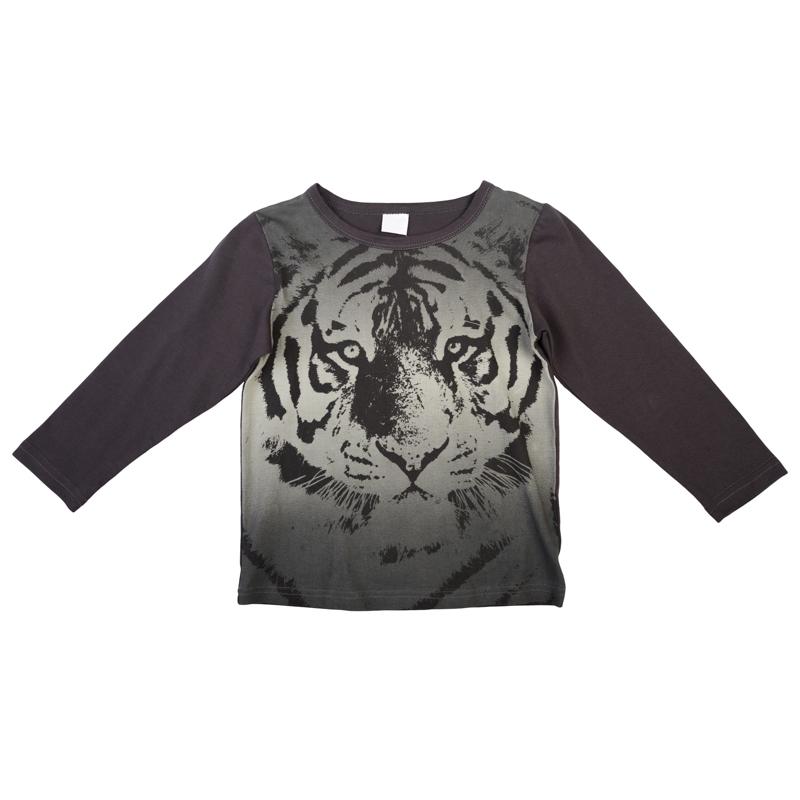 футболка для мальчиков. 361026361026Стильная футболка с длинными рукавами. Украшена градиентом цвета и графичным принтом в стиле 3D. На воротнике эластичная бейка.