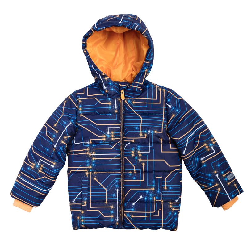 Куртка361051Куртка для мальчика PlayToday станет отличным дополнением к детскому гардеробу. Модель изготовлена из полиэстера. В качестве утеплителя используется легкий синтетический наполнитель. Благодаря гладкой подкладке, куртка легко надевается. Куртка с несъемным капюшоном и длинными рукавами застегивается на пластиковую молнию с защитой подбородка. Модель оснащена внутренней ветрозащитной планкой. Капюшон по краю дополнен затягивающимся эластичным шнурком со стопперами. На рукавах предусмотрены мягкие трикотажные манжеты контрастного цвета. Подкладка куртки присборена на резинку по линии талии. Спереди расположены два прорезных кармана с застежками-липучками. Модель оформлена принтом, дополнена фирменными светоотражающими нашивками. Теплая, комфортная и практичная куртка идеально подойдет для прогулок и игр на свежем воздухе!