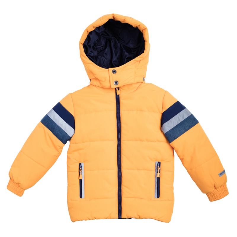 Куртка для мальчиков. 361052361052Стильная куртка ярко-оранжевого цвета. Украшена полосками с имитацией джинсовой ткани и светоотражателями. Застегивается на молнию с защитой подбородка. Рукава и низ на резинке. Есть два функциональных кармана на молнии. Капюшон утягивается стопперами и удобно отстегивается.