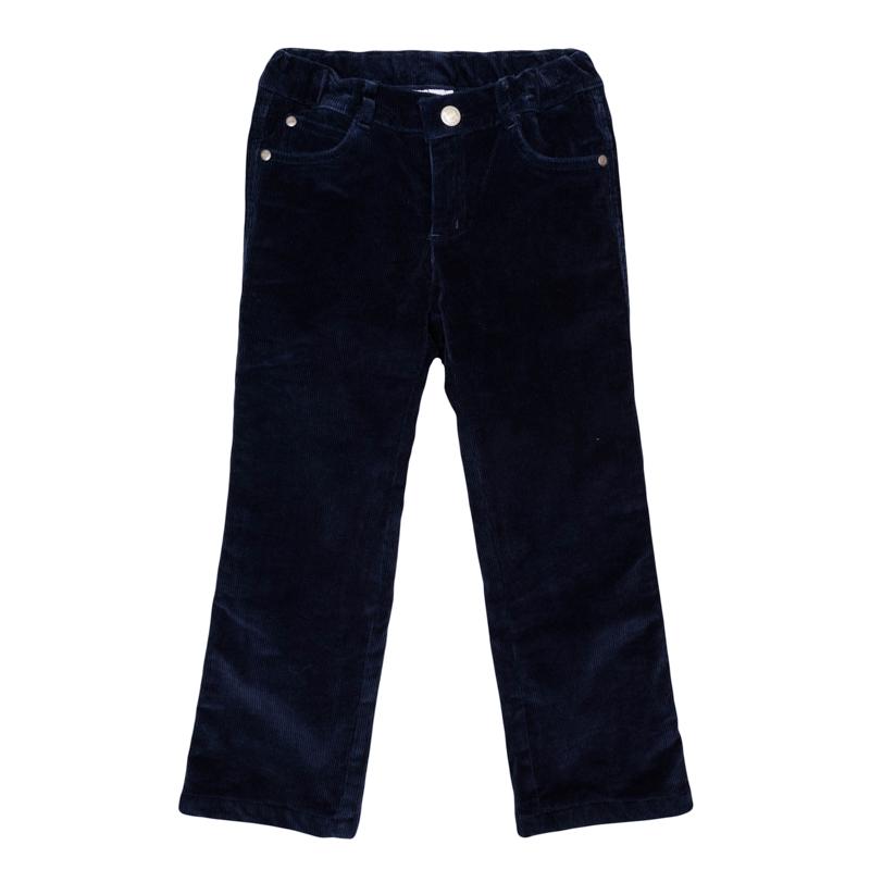 361056Уютные вельветовые брюки темно-синего цвета. Классическая пятикарманка. Застегиваются на молнию и кнопку, пояс на резинке. Внутри мягкая хлопковая подкладка.