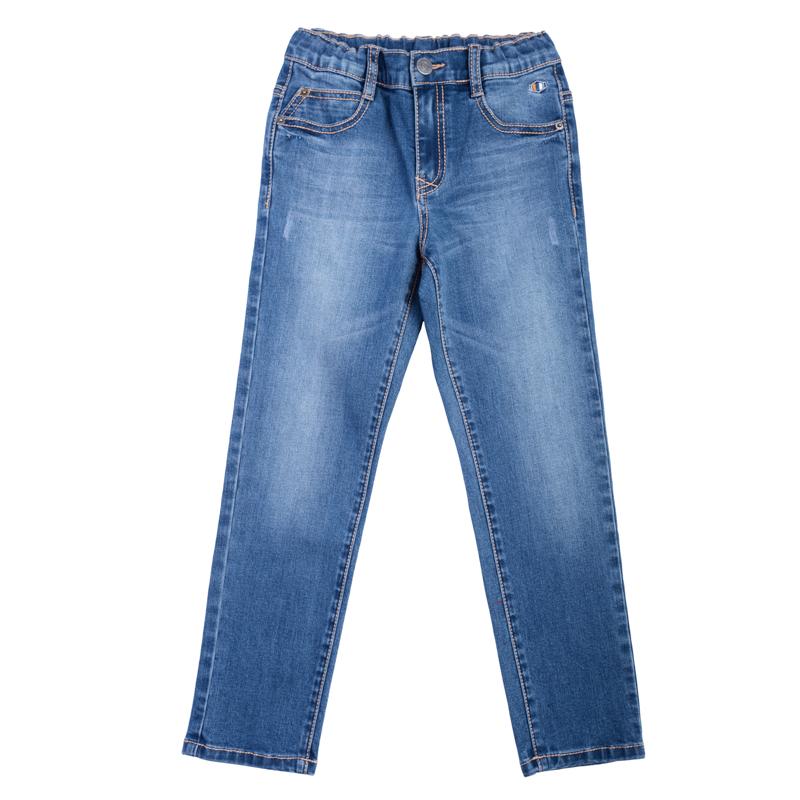 Брюки для мальчиков. 361058361058Стильные хлопковые джинсы с модными потертостями. Классическая пятикарманка. Застегиваются на молнию и пуговицу, есть шлевки для ремня.