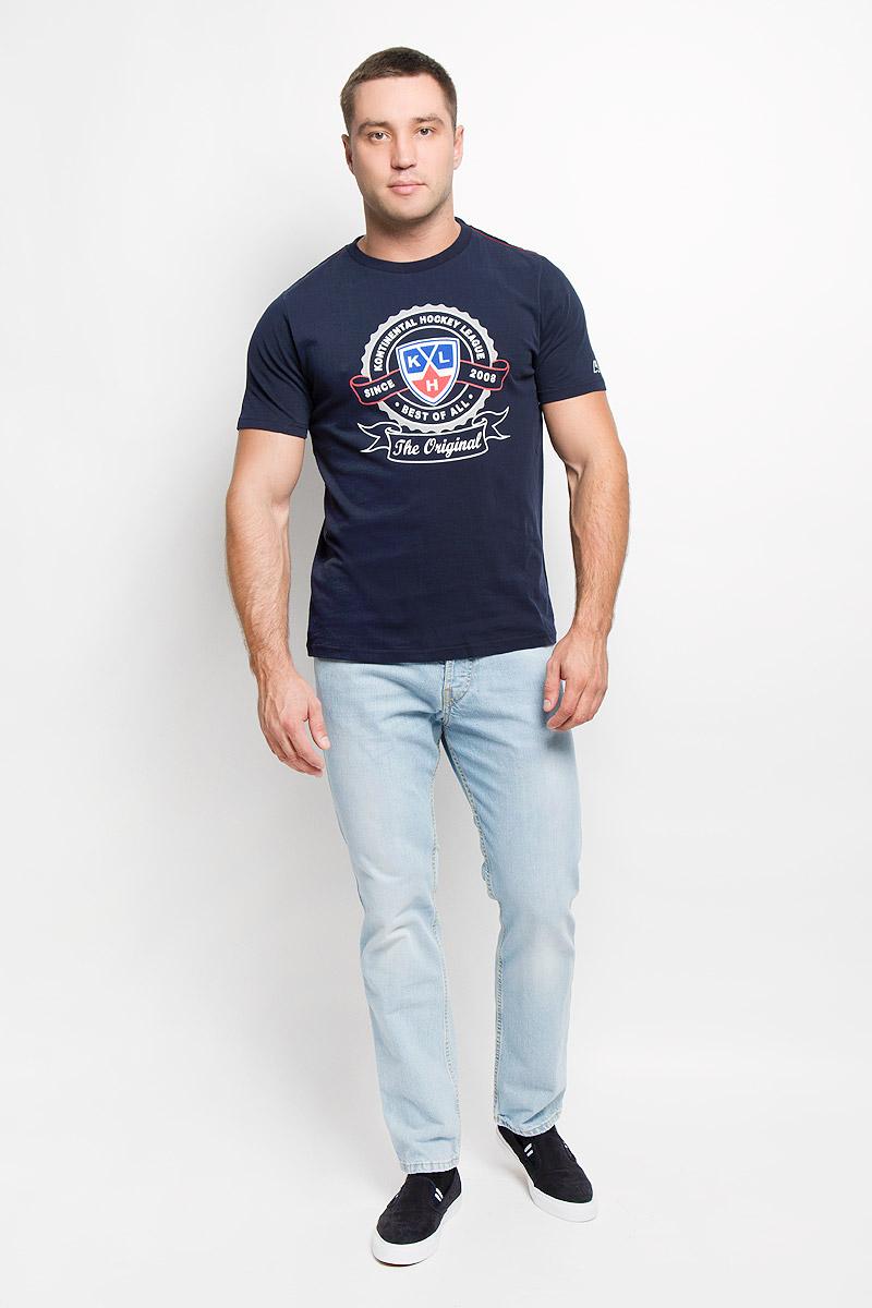 Футболка с логотипом ХК26800Мужская футболка КХЛ, выполненная из натурального хлопка, порадует поклонника хоккея. Материал очень мягкий и приятный на ощупь, не сковывает движения и позволяет коже дышать. Футболка с короткими рукавами имеет круглый вырез горловины, дополненный трикотажной резинкой. Изделие оформлено термоаппликацией с эффектом потрескавшейся краски в виде логотипа Континентальной хоккейной лиги и надписей. Такая модель отлично подойдет для повседневной носки, а также подарит вам комфорт в течение всего дня!