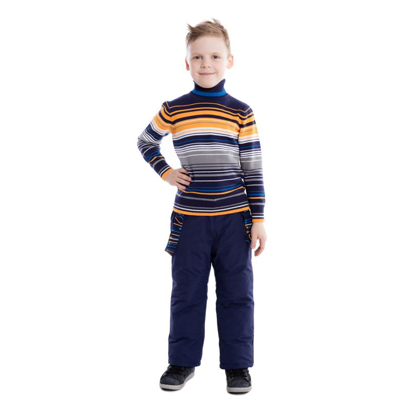 361063Уютный джемпер из вязаного трикотажа. Высокий воротник защитит от ветра, рукава и низ на резинке. Украшен модным рисунком в разнокалиберную полоску.