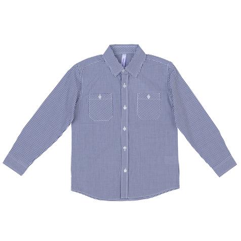 Рубашка361064Стильная сорочка в мелкую темно-синюю клетку. Застегивается на прозрачные пуговицы. Классический отложной воротничок. Манжеты на двух пуговках. На полочке два функциональных кармана.