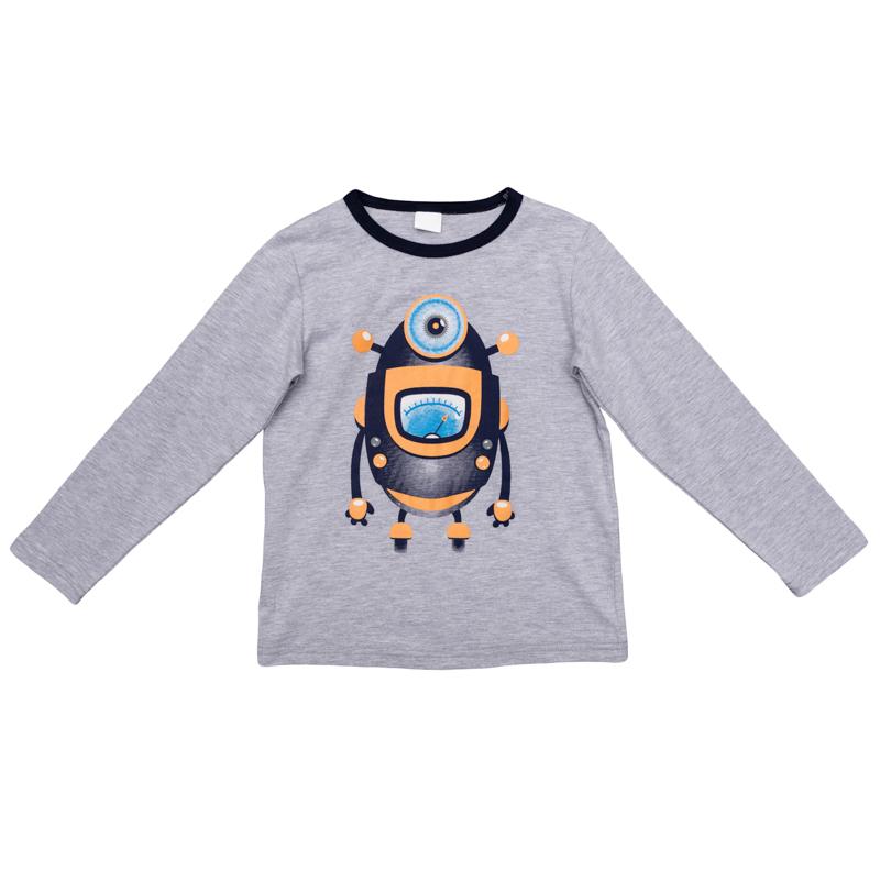 Футболка с длинным рукавом361072Уютный лонгслив для мальчика выполнен из органического хлопка и оформлен резиновым принтом с изображением забавного робота. Воротник дополнен контрастной эластичной бейкой. Универсальный цвет позволяет сочетать модель с любой одеждой.