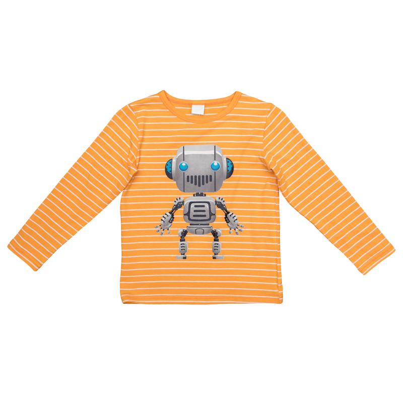 361074Яркая хлопковая футболка в полоску с длинными рукавами. Украшена стильным резиновым принтом с роботом. На воротнике эластичная бейка.