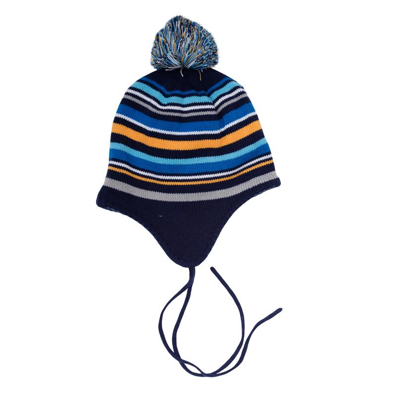 Шапка детская361083Уютная шапочка из вязаного трикотажа в цветную полоску. Украшена забавным помпоном, есть удобные завязки. Удлиненные боковые части надежно защитят от ветра.