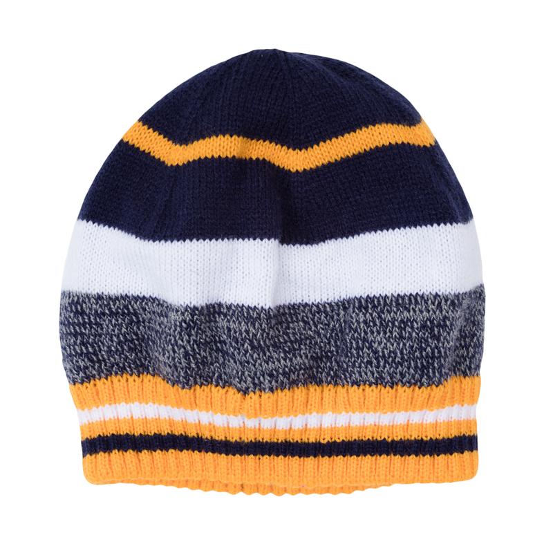 Шапка детская361084Уютная шапочка из вязаного трикотажа в цветную полоску. Низ на мягкой резинке.