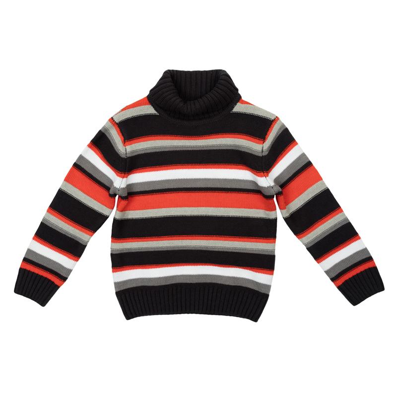 Свитер для мальчиков. 361107361107Уютный свитер в яркую полоску. Высокий воротник надежно защитит от ветра. Рукава и низ на широкой вязаной резинке.