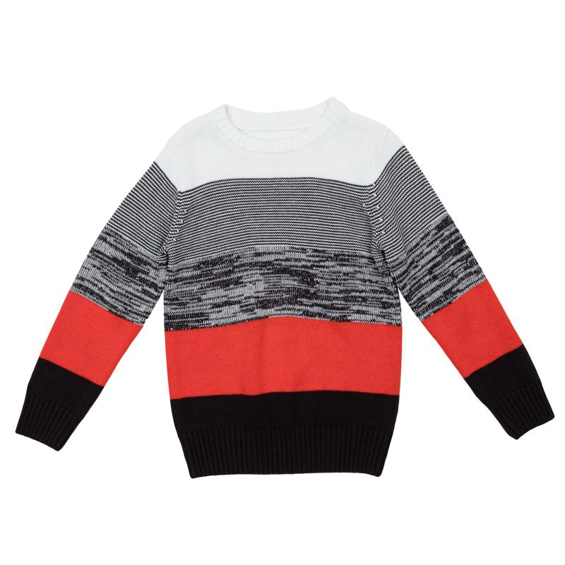 Джемпер для мальчиков. 361108361108Уютный свитер из вязаного трикотажа. Стильный рисунок в разнокалиберную полоску. Рукава, воротник и низ на мягкой вязаной резинке.