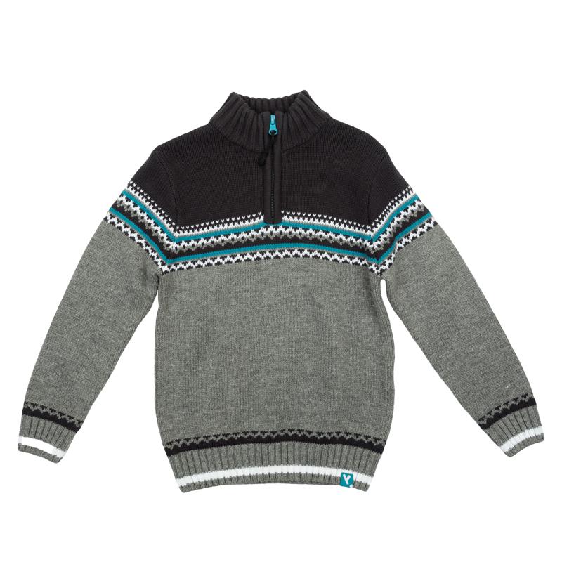 Свитер для мальчиков. 361109361109Уютный свитер из вязаного трикотажа. Украшен стильным жаккардовым рисунком. Высокий воротник надежно защитит от ветра. Рукава и низ на мягкой вязаной резинке.