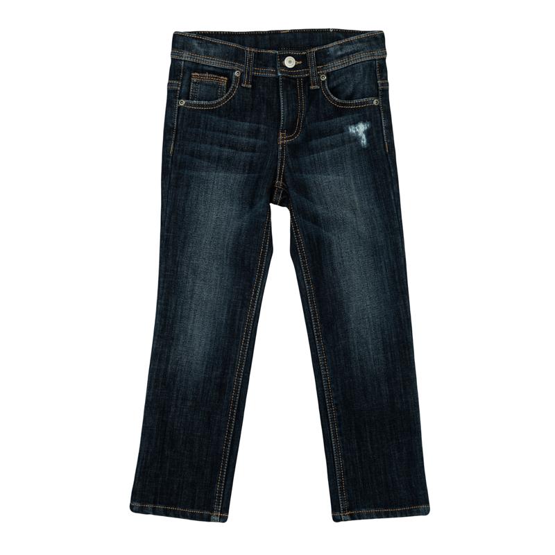 Брюки для мальчиков. 361115361115Стильные джинсы с модными потертостями. Внутри утеплены уютным флисом. Застегиваются на молнию и пуговицу, есть шлевки для ремня. Классическая пятикарманка.