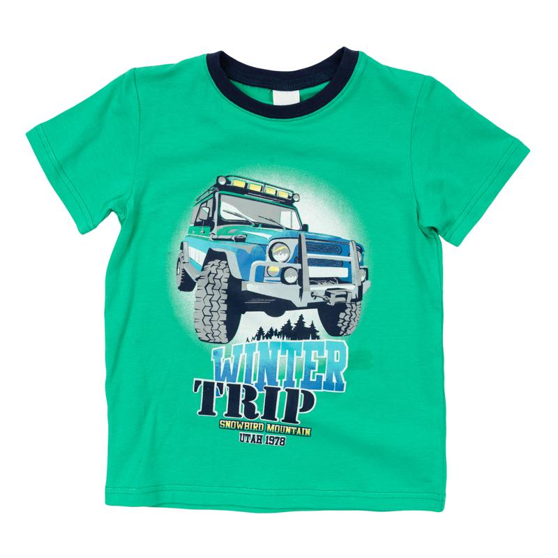 361168Яркая хлопковая футболка с короткими рукавами. Украшена стильным резиновым принтом, на воротнике трикотажная резинка.