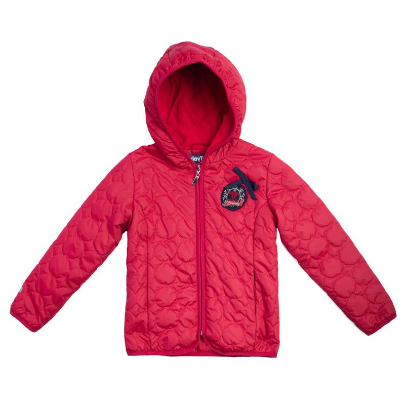 Куртка для девочек. 362002362002Стильная красная куртка с фигурной стежкой. Отсутствие большого количества синтепона компенсируется теплой флисовой подкладкой. Куртка легкая и удобная, но в ней можно гулять хоть весь день. Застегивается на молнию с защитой подбородка. Края обработаны мягким эластичным кантом для защиты от ветра.