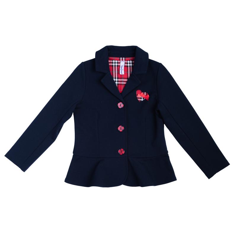 Кардиган362013Стильный хлопковый пиджак необычного кроя. Украшен аппликацией в клетку, внутри также клетчатая отделка. Застегивается на яркие пуговки.