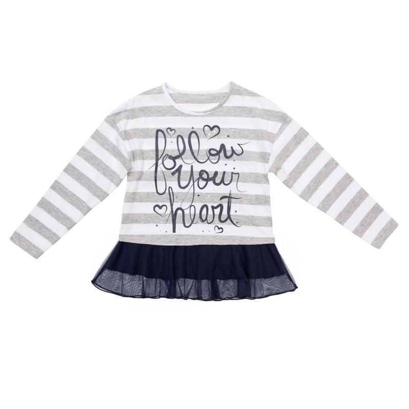 футболка для девочек. 362019362019Мягкая хлопковая футболка-туника с длинными рукавами. Украшена стильным принтом с блестящими стразамии и нежной сеточкой снизу. Удачно сочетается с любой одеждой.