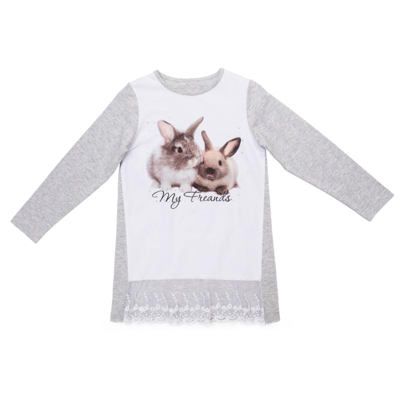 362020Мягкая хлопковая футболка-туника с длинными рукавами. Украшена фотопринтом с кроликами и нежной сеточкой снизу. Удачно сочетается с любой одеждой.