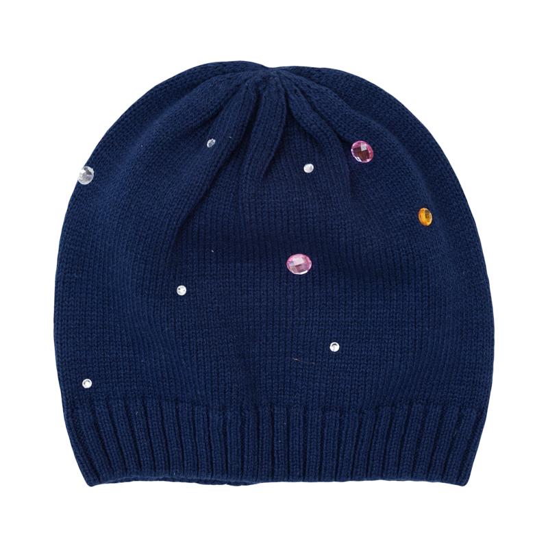 Шапка для девочек. 362025362025Уютная шапочка из вязаного трикотажа. Украшена сверкающими стразами.