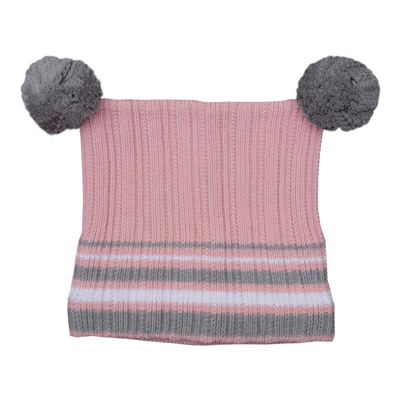 Шапка для девочек. 362027362027Уютная вязаная шапочка на теплой флисовой подкладке. Украшена забавными помпонами.