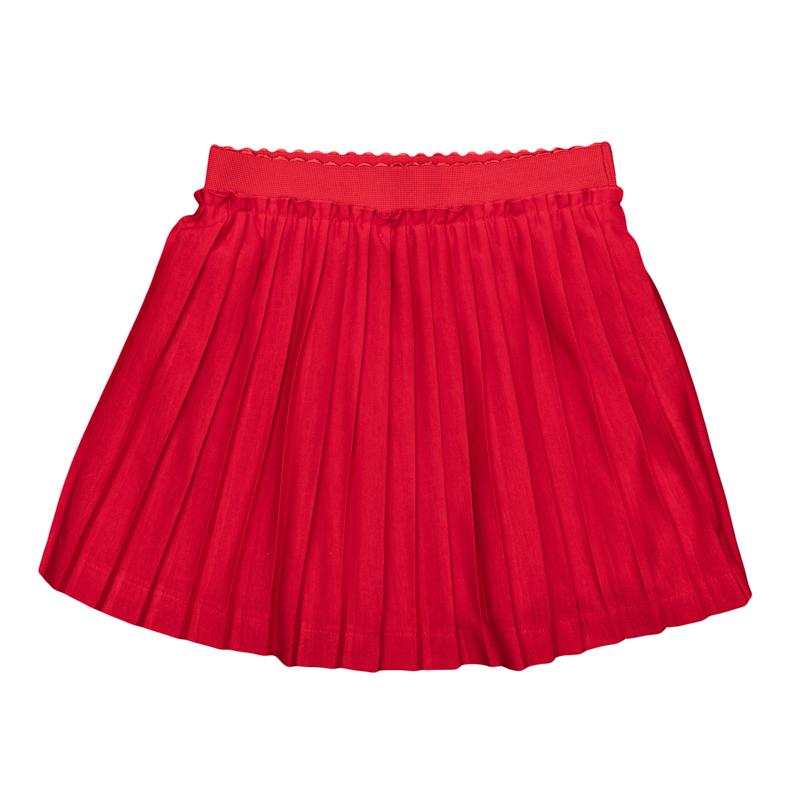 362037Воздушная плиссированная юбка яркого красного цвета. Внутри мягкая трикотажная подкладка, пояс на резинке.
