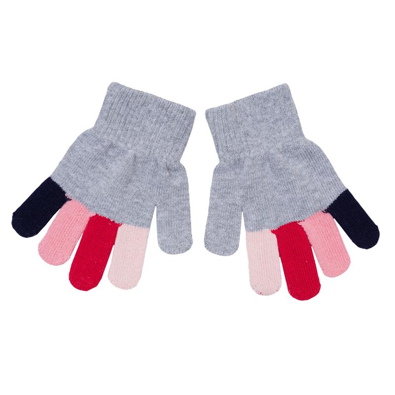 Перчатки для девочек. 362040362040Мягкие перчатки из вязаного трикотажа. Все пальчики разных цветов, выглядит мило и забавно. Верх на широкой резинке.