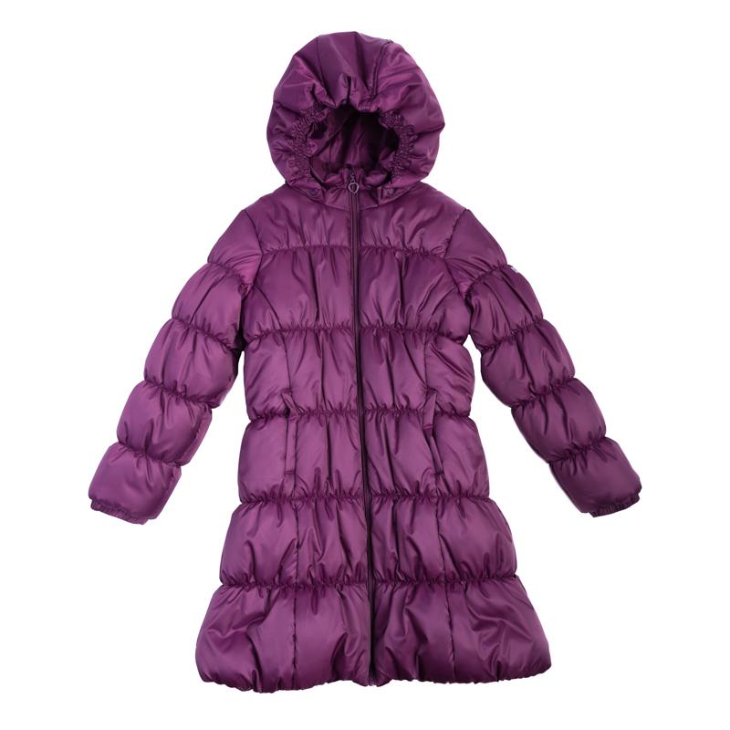Куртка для девочек. 362051362051Стильное утепленное пальто с эластичной стежкой. Застегивается на молнию с защитой подбородка и фигурным пуллером-сердечком. Капюшон на резинке удобно отстегивается. На воротнике мягкий флисовый манжет. Благодаря стежке достигается удобная посадка по фигуре ребенка и усиливаются теплозащитные свойства. По бокам два кармана.