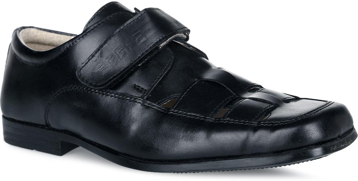 11426-1Стильные и удобные туфли от Зебра не оставят равнодушным вашего мальчика! Модель изготовлена из натуральной кожи. Ремешок с застежкой-липучкой, оформленный фирменный тиснением, зафиксирует модель на ноге. Подкладка из натуральной кожи не натирает. Отверстия на мысе обеспечивают естественную вентиляцию. Стелька из материала ЭВА с поверхностью из натуральной кожи дополнена супинатором с перфорацией, который обеспечивает правильное положение стопы ребенка при ходьбе и предотвращает плоскостопие. Каблук и подошва с рифлением обеспечивают отличное сцепление с любой поверхностью. Подошва не оставляет следов на поверхности пола, поэтому туфли идеально подойдут в качестве сменной обуви. Стильные туфли - незаменимая вещь в гардеробе каждого мальчика!
