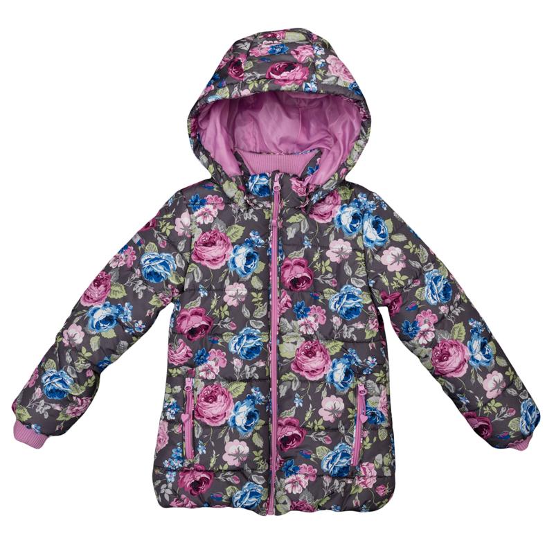 Куртка для девочек. 362052362052Стильная куртка с капюшоном и стежкой. Украшена нежным цветочным принтом. Застегивается на молнию с защитой подбородка и фигурным пуллером. Капюшон отстегивается и удобно утягивается стопперами. На воротнике и рукавах мягкие трикотажные манжеты. Благодаря внутренней резинке на поясе достигается максимально удобная посадка по фигуре ребенка и усиливаются теплозащитные свойства. По бокам два кармана на молнии.